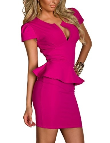 Boliyda Sexy Sexi Sommer Bodycan Low Cut V-Ausschnitt flounce Slim Club Kleid Clubwear Partywear Casual Tägliches Kleid für Damen Damen Dame Rose Red L Größe - 3