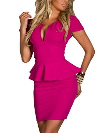 Boliyda Sexy Sexi Sommer Bodycan Low Cut V-Ausschnitt flounce Slim Club Kleid Clubwear Partywear Casual Tägliches Kleid für Damen Damen Dame Rose Red L Größe - 4