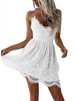 Boutiquefeel Damen Crochet Lace Up Tief V Ausschnitt Slip Rückfrei Mini Kleid Weiß S -