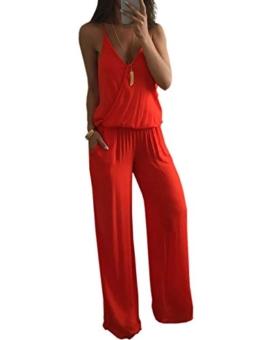 Boutiquefeel Damen Low Cut Falten Tied Waist Wide Leg Wrapped Jumpsuit Rot L - 1