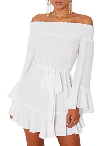 Boutiquefeel Damen Schulterfrei Blumen Drop Hem Tied Casual Kleid Weiß S - 1