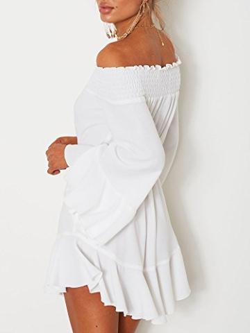 Boutiquefeel Damen Schulterfrei Blumen Drop Hem Tied Casual Kleid Weiß S - 4