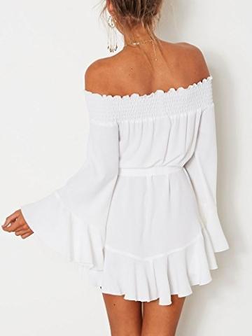 Boutiquefeel Damen Schulterfrei Blumen Drop Hem Tied Casual Kleid Weiß S - 5