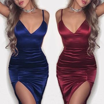 Boutiquefeel Damen Spaghetti Strap Ruched Bodycon Kleid Partykleid Abendkleid Blau L - 3