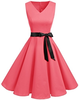 Bridesmay Damen Vintage 1950er Rockabilly Ärmellos Retro Cocktailkleid Partykleid Blush 4XL - 1