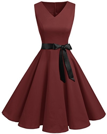 Bridesmay Damen Vintage 1950er Rockabilly Ärmellos Retro Cocktailkleid Partykleid Burgundy XL - 1