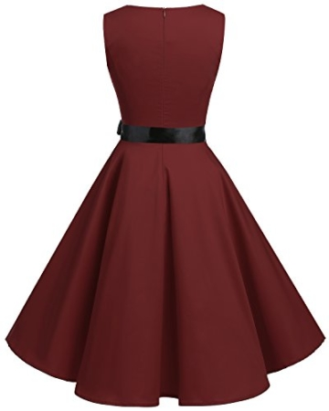 Bridesmay Damen Vintage 1950er Rockabilly Ärmellos Retro Cocktailkleid Partykleid Burgundy XL - 3