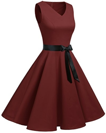Bridesmay Damen Vintage 1950er Rockabilly Ärmellos Retro Cocktailkleid Partykleid Burgundy XL - 4