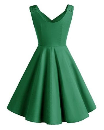 Bridesmay Damen Vintage 50S Retro Partykleid Rockabilly Knielang Cocktailkleid Green 3XL - 2