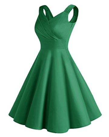 Bridesmay Damen Vintage 50S Retro Partykleid Rockabilly Knielang Cocktailkleid Green 3XL - 3