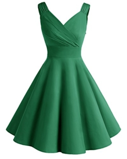Bridesmay Damen Vintage 50S Retro Partykleid Rockabilly Knielang Cocktailkleid Green 3XL - 1