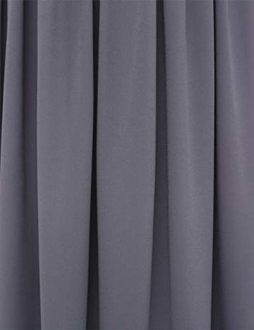 Bright Deer Damen Hochgeschlossenes 2 in 1 Midi-Skaterkleid mit Besticktes Netzstoffoberteil und Chiffon-Rock Abendkleid Rückenausschnitt 44 46 XL Grau - 5
