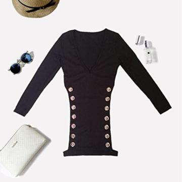Btruely Damen Kleid V-Ausschnitt Minikleid Bandage Sommerkleid Freizeitkleid Cocktailkleid Slim Elegant Standkleid Boho - 2