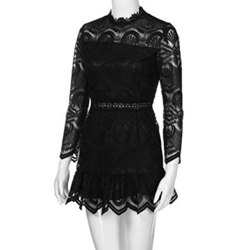 Btruely Kleid Damen Kurz Elegant Partykleid Slim Fit Cocktailkleid Langarm Abenkleid Vintage O-Ausschnitt Minikleid Spitzenrock A-Linie Kleid (L, Schwarz) - 4