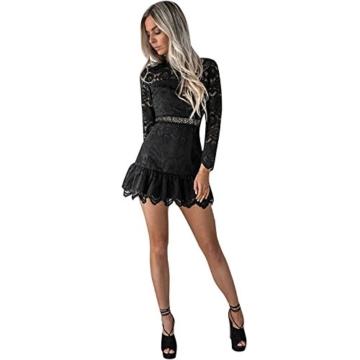 Btruely Kleid Damen Kurz Elegant Partykleid Slim Fit Cocktailkleid Langarm Abenkleid Vintage O-Ausschnitt Minikleid Spitzenrock A-Linie Kleid (L, Schwarz) - 1