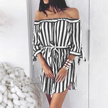 Btruely Minikleider Damen Off-Shoulder Strandkleider Vintage Strandkleid Ohne Träger Kleid Ärmellos Streifen Sommerkleid - 2