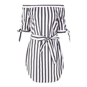 Btruely Minikleider Damen Off-Shoulder Strandkleider Vintage Strandkleid Ohne Träger Kleid Ärmellos Streifen Sommerkleid - 3