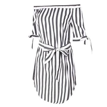 Btruely Minikleider Damen Off-Shoulder Strandkleider Vintage Strandkleid Ohne Träger Kleid Ärmellos Streifen Sommerkleid - 4