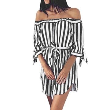 Btruely Minikleider Damen Off-Shoulder Strandkleider Vintage Strandkleid Ohne Träger Kleid Ärmellos Streifen Sommerkleid - 1