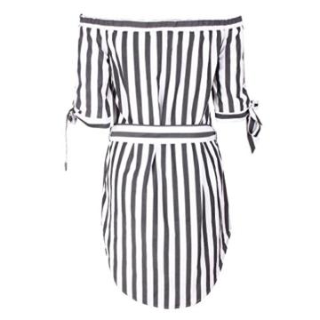 Btruely Minikleider Damen Off-Shoulder Strandkleider Vintage Strandkleid Ohne Träger Kleid Ärmellos Streifen Sommerkleid - 5