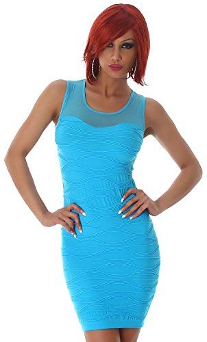 B&X Damen Minikleid einfarbig mit Stickerei & Spitze, türkis Größe 32 34 36 - 2