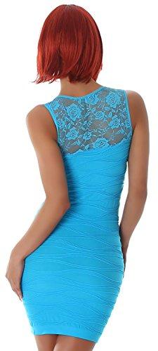 B&X Damen Minikleid einfarbig mit Stickerei & Spitze, türkis Größe 32 34 36 - 3