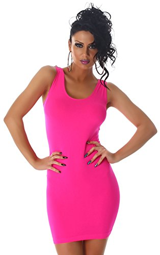 B&X Damen Minikleid einfarbig mit Spitze am Rücken verziert, neonpink Größe 32 34 36 -