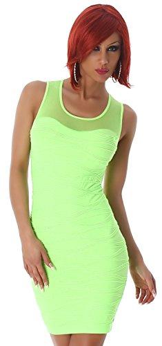 B&X Damen Minikleid einfarbig mit Stickerei & Spitze, neongrün Größe 32 34 36 -