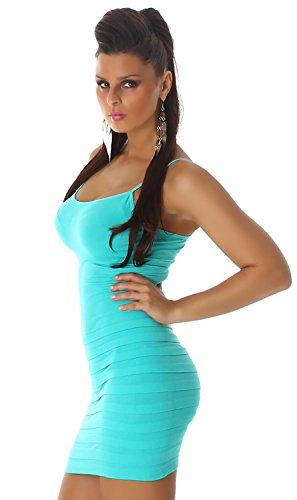 B&X Damen Träger-Minikleid einfarbig mit dezent eingearbeiteten Stufen, mint Größe 30 32 34 - 3