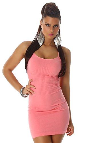 B&X Damen Träger-Minikleid einfarbig dünnen Trägern, salmonpink Größe 32 34 36 - 1