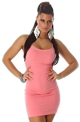 B&X Damen Träger-Minikleid einfarbig dünnen Trägern, salmonpink Größe 32 34 36 - 2