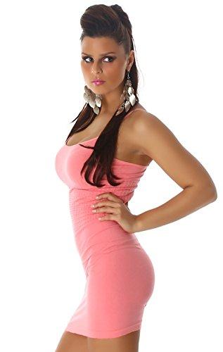 B&X Damen Träger-Minikleid einfarbig dünnen Trägern, salmonpink Größe 32 34 36 - 3