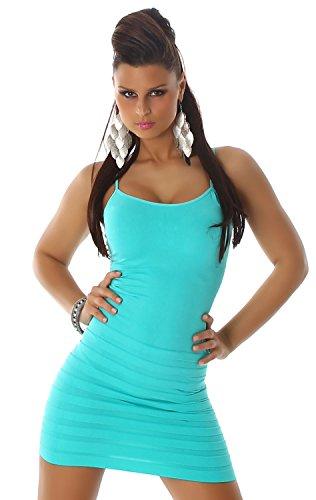 B&X Damen Träger-Minikleid einfarbig mit dezent eingearbeiteten Stufen, mint Größe 30 32 34 - 1