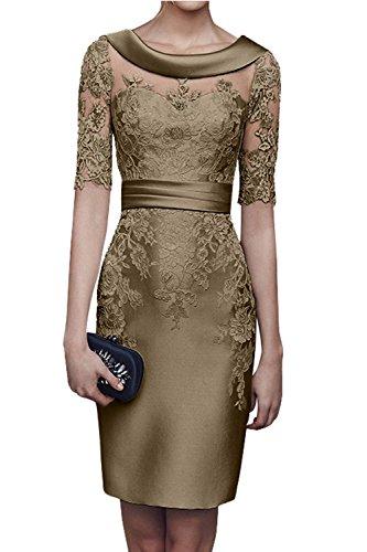 Charmant Damen 2018 Champagner Satin Abendkleider Partykleider Ballkleider Langarm Knielang Festlich Kleider -32 Dunkel Champagner - 1