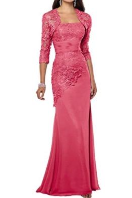 Charmant Damen Elegant Wassermelon Satin Abendkleider Partykleider Promkleider Brautmutterkleider Lang Schmaler Schnitt -38 Wassermelon - 1