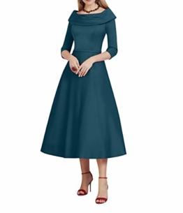 Charmant Damen Wadenlang Abendkleider Promkleider Festlichkleider Satin Standsamt Kleider Fuer Silberhochzeits-48 Navy Blau - 1