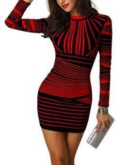 CHICME BEST SHOPPING DEALS Damen Gradient Farben Streifen Bodycon Mini Kleid Rot M - 1