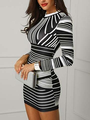 CHICME BEST SHOPPING DEALS Damen Gradient Farben Streifen Bodycon Mini Kleid Weiß L - 2
