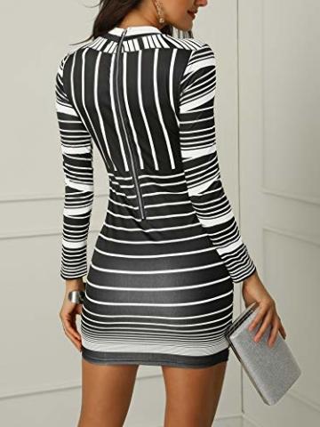 CHICME BEST SHOPPING DEALS Damen Gradient Farben Streifen Bodycon Mini Kleid Weiß L - 3