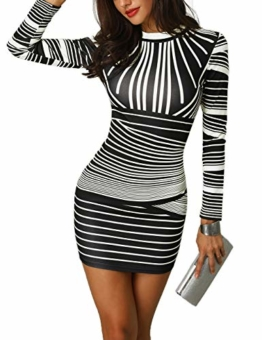CHICME BEST SHOPPING DEALS Damen Gradient Farben Streifen Bodycon Mini Kleid Weiß L - 1