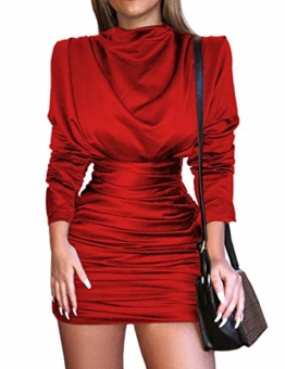 CHICME BEST SHOPPING DEALS Damen Langarm Slit Rücken Ruched Party Kleid (Small, Z-Rot) - 1