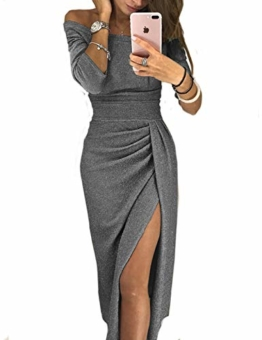 CHICME BEST SHOPPING DEALS Damen Shiny Schulterfrei Ruched Thigh Slit Kleid Grau S - 1