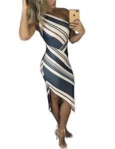 CHICME Damen Streifen Eine Schulter Irregular Bodycon Kleid Dunkelgrau XL - 1