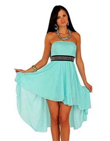 Chiffon Bandeau Cocktailkleid mit Spitze Kleid Sexy Kleid Partykleid Asymmetrisch Minikleid Abendkleid 12121 (S/M (36/38), Mint3) -