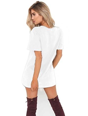 Cindeyar Damen Casual Sommerkleid Minikleid Lose V-Ausschnitt T Shirt Kleid Strandkleid Blusenkleid Kurze Partykleid (Weiß, L) - 3