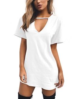 Cindeyar Damen Casual Sommerkleid Minikleid Lose V-Ausschnitt T Shirt Kleid Strandkleid Blusenkleid Kurze Partykleid (Weiß, L) - 1