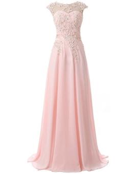 Clearbridal Damen Chiffon Lange Ballkleider Abschusskleider Abendkleider mit Applikation CSD181 Rosa Gr.EU42 - 1