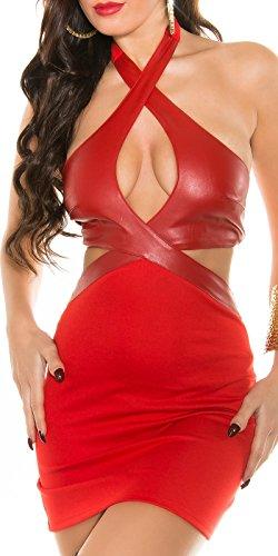 Clubwear Neckholder-Minikleid * Gr. S M L * mit Lederlook-Applikation Kleid schwarz beige Leo-Optik rot (900306 rot Gr. S) - 1
