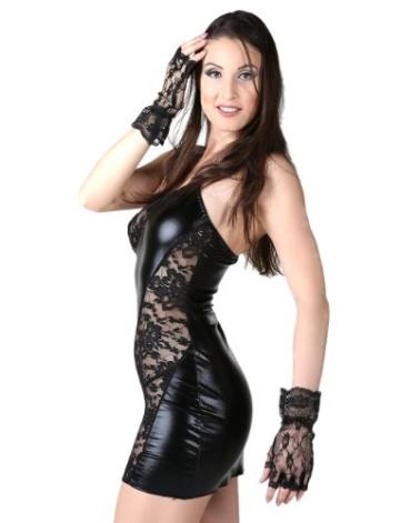 CMF Sexy Gogo Minikleid Wetlook Schwarz mit Spitze Kleid Träger Lack Gr. XS-S 34 36 - 2