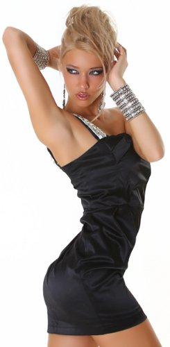 Cocktail-Kleid glänzend mit einem Träger, schwarz Größe 36 38 - 2